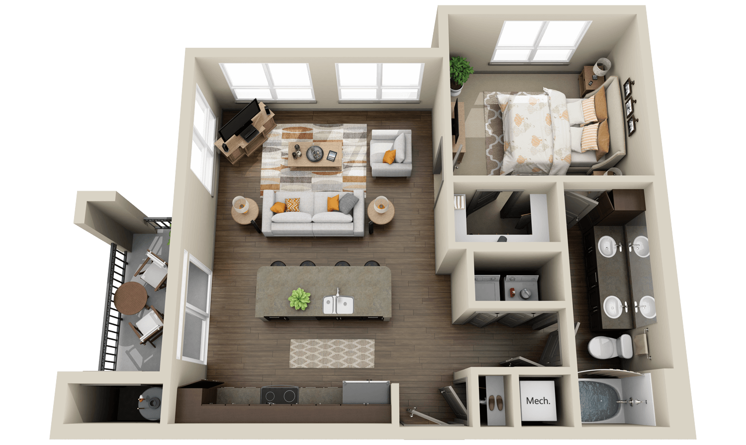 Large living room in the 3d floor plan of the apartment with one small bedroom