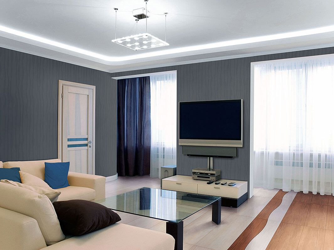 Universal Fiberglass Wallpaper for Any Room of Your Apartment. Hi-tech interior style with fiber glass wallpaper