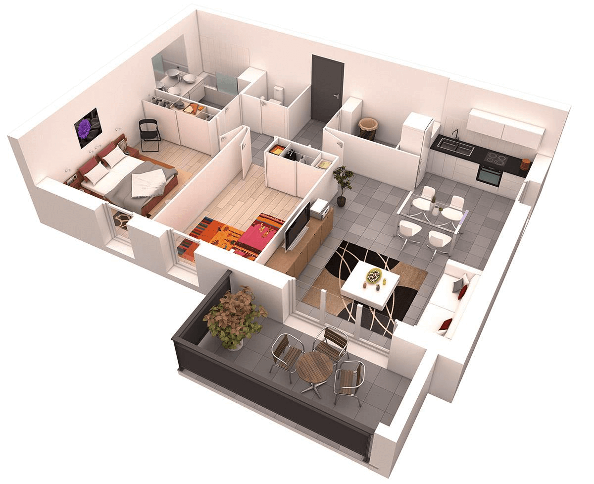 Cozy 3d floor plan of the one bedroom apartment