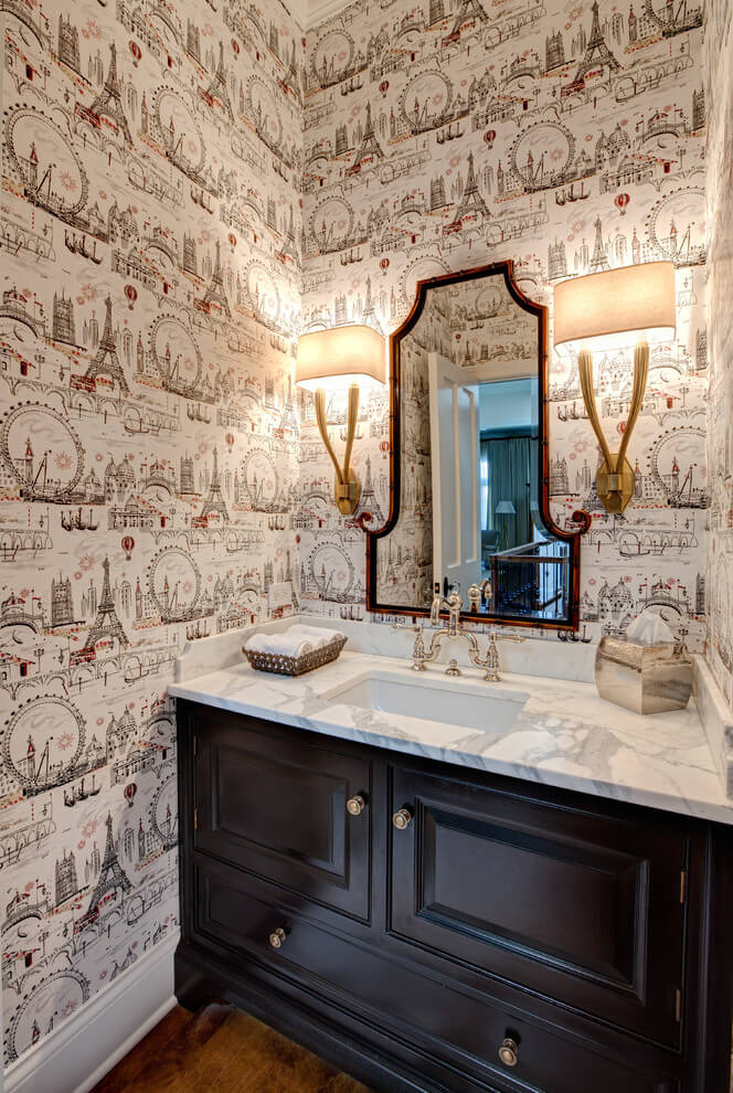 Unusual design of the wallpaper at the bathroom's vanity