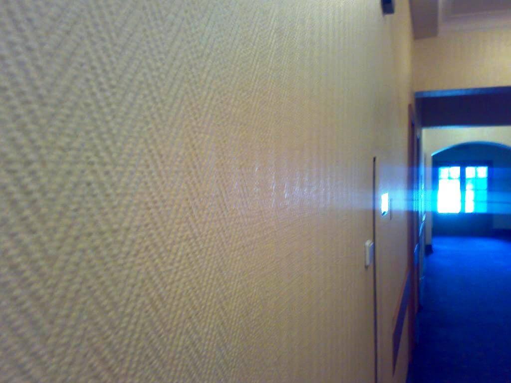 Close-up of the fiberglass wallpaper with herringbone pattern
