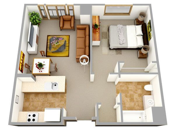 Small design ideas for the 1 bedroom apartment . 3d floor plan from the top