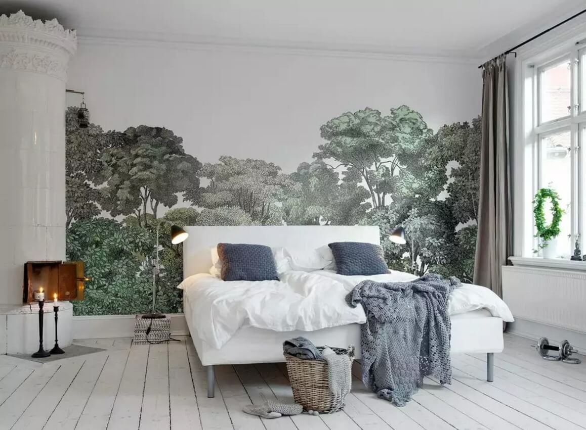 Photowallpaper in the rustic styled bedroom is making it closer to the nature