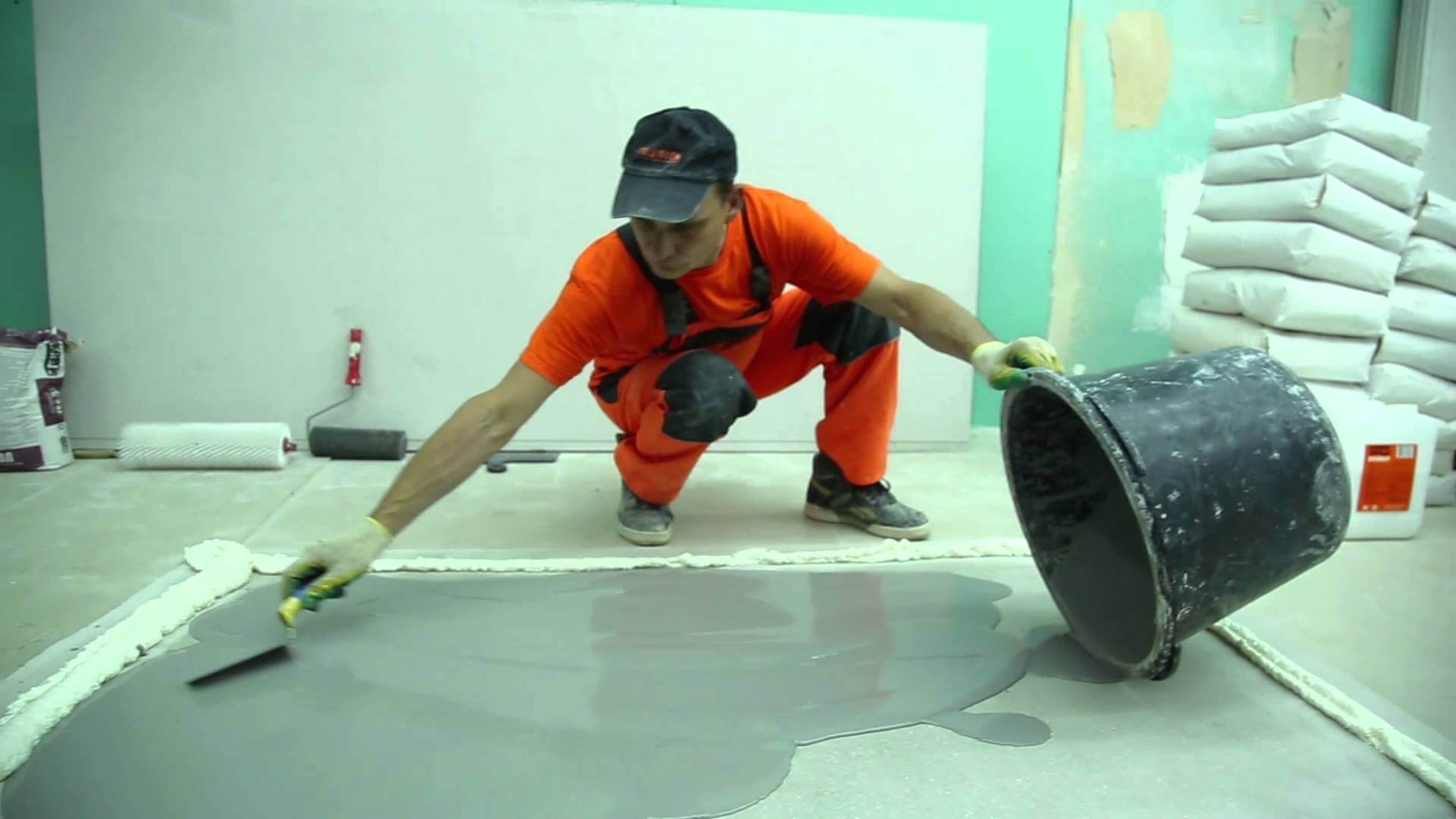 Zoning with the help of the liquid self-leveling mixture