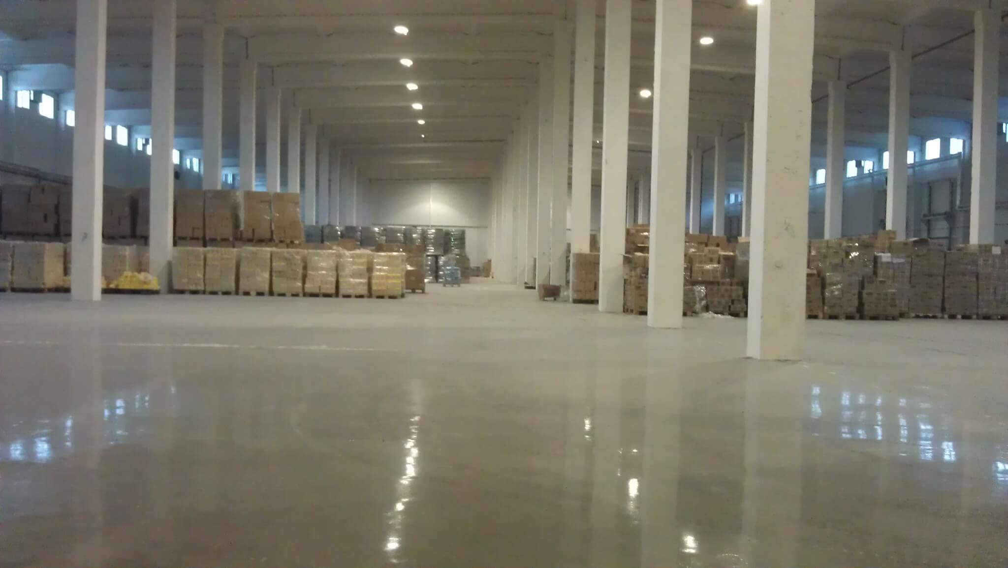 Spotless surface of the warehouse floor