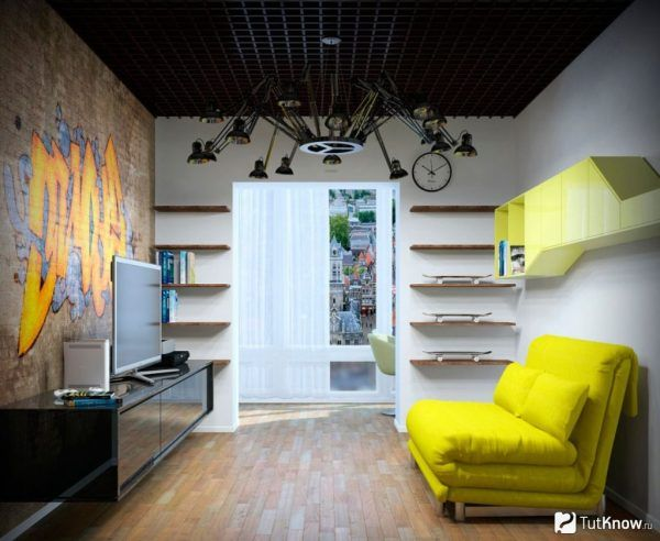 Spectacular design idea for small living room with black chandelier and aluminum lattice ceiling