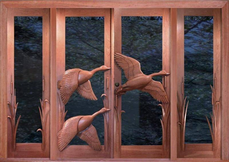 Carved Wooden Doors as Piece of Art in your Interior. interior glass and timber made doors with handycraft swans