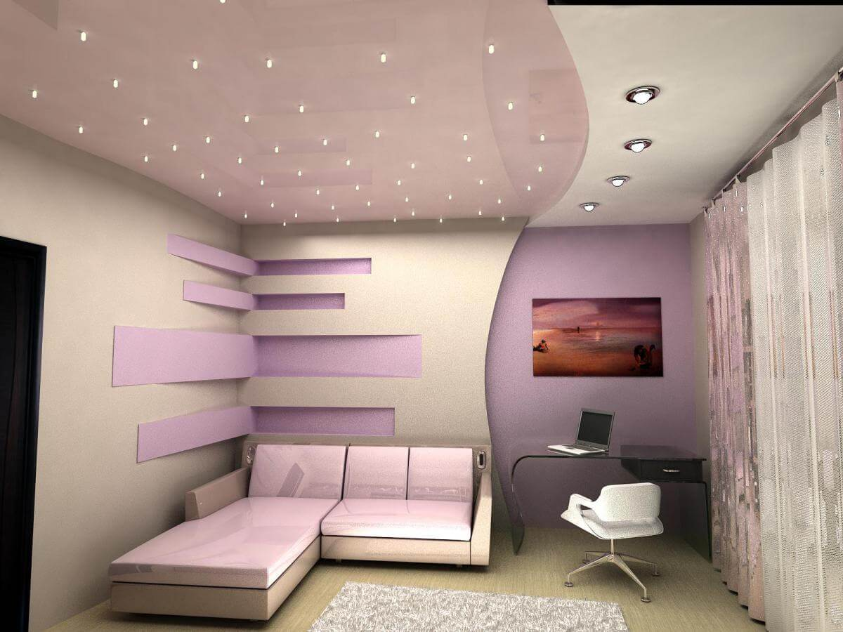 Plasterboard Ceiling Finishing Design Ideas for Apartment. Futuristic concept for the cozy small room