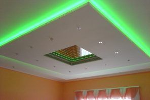 Plasterboard Ceiling Finishing Design Ideas for Apartment. Green neon backlight of the cosmic ceiling construction