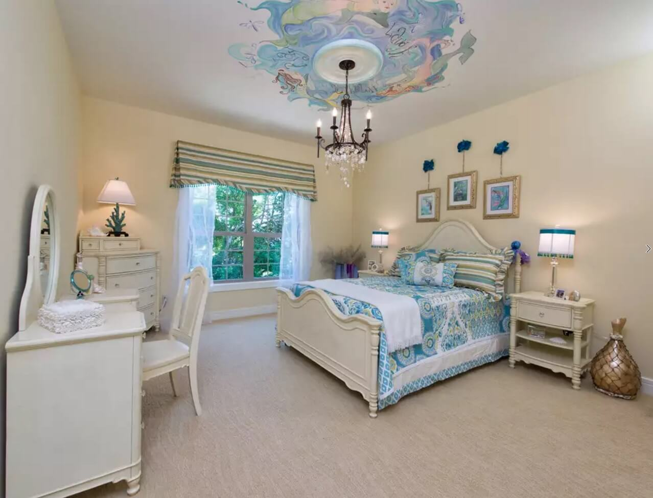 Ceiling Paint Interior Finishing Design Ideas as Nice Budget Option. White layer and the bluish painting round the chandelier