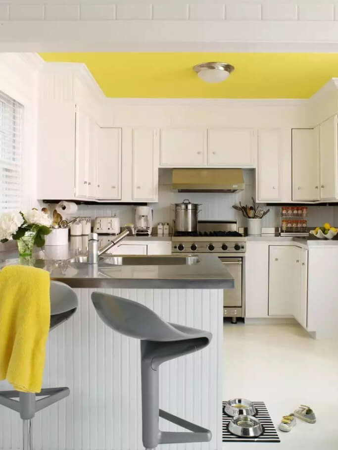 Ceiling Paint Interior Finishing Design Ideas as Nice Budget Option. Yellow joyful color at the kitchen