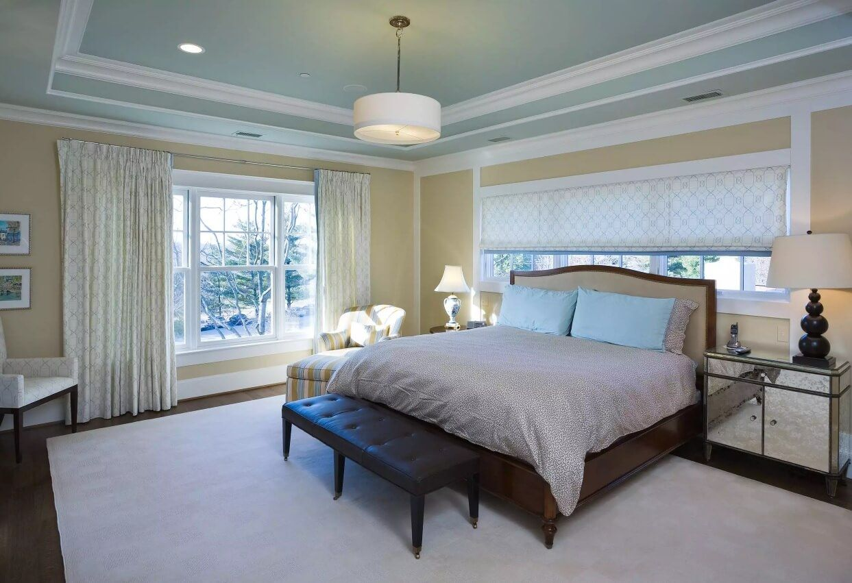 Ceiling Paint Interior Finishing Design Ideas as Nice Budget Option. Neutral color palette for the classic styled bedroom with large wooden royal bed