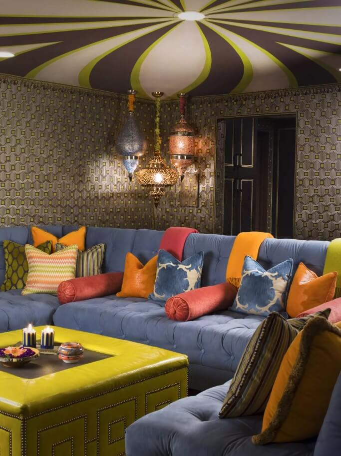 Ceiling Paint Interior Finishing Design Ideas as Nice Budget Option. Colorful cushions and striped vivid room's top