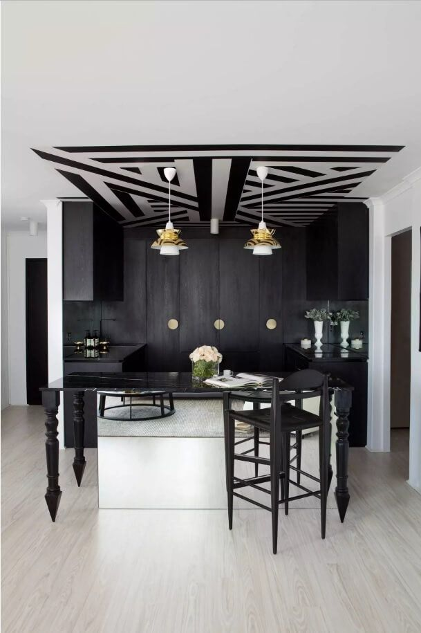 Ceiling Paint Interior Finishing Design Ideas as Nice Budget Option. Creative grid of stripes for the black and white comtrasting kitchen