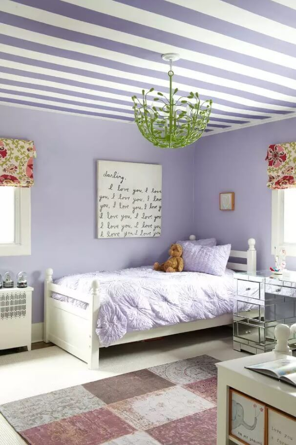 Ceiling Paint Interior Finishing Design Ideas as Nice Budget Option. Relaxing Marine stripes to attract the glances to the top of the room
