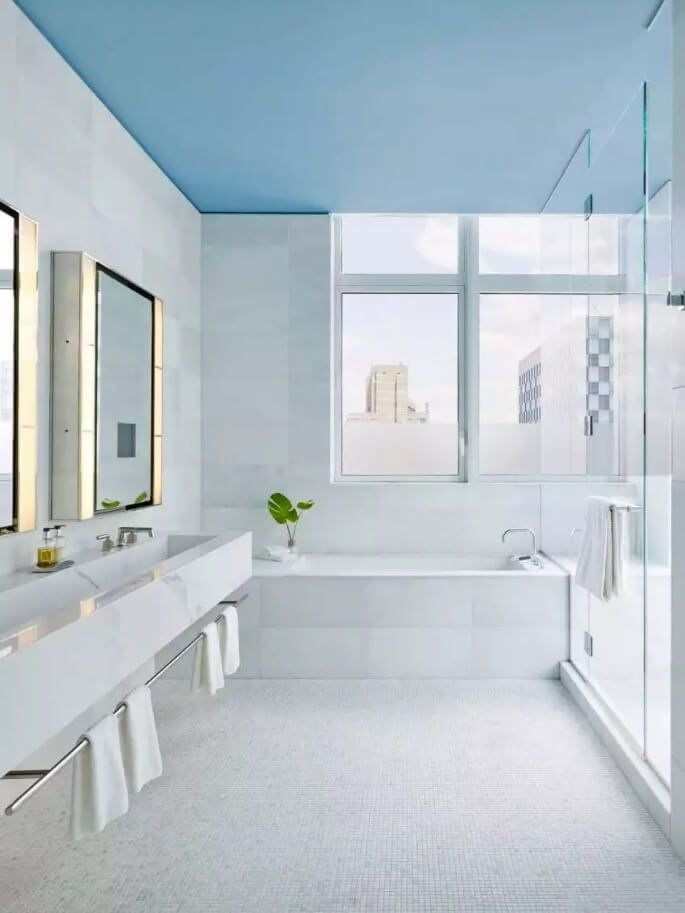 Ceiling Paint Interior Finishing Design Ideas as Nice Budget Option. Tender blue tint to crown the bathroom