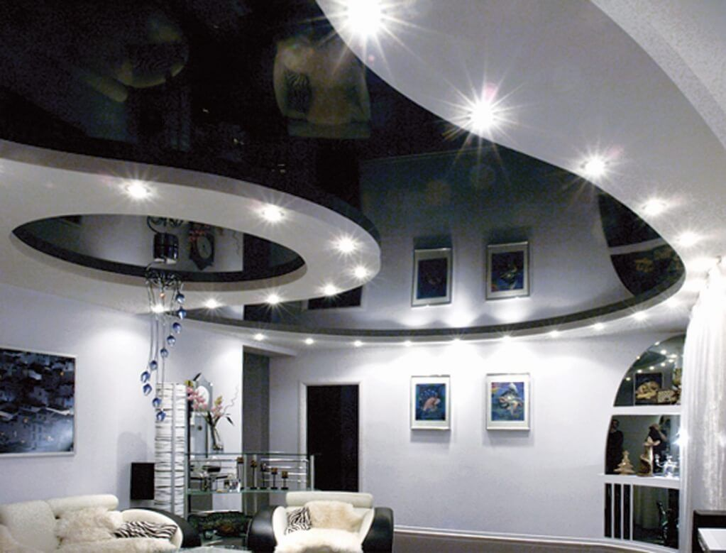 Stretch Ceilings: Types, Advantages, Disadvantages and Photos. Gorgeous combined black and white glossy ceiling