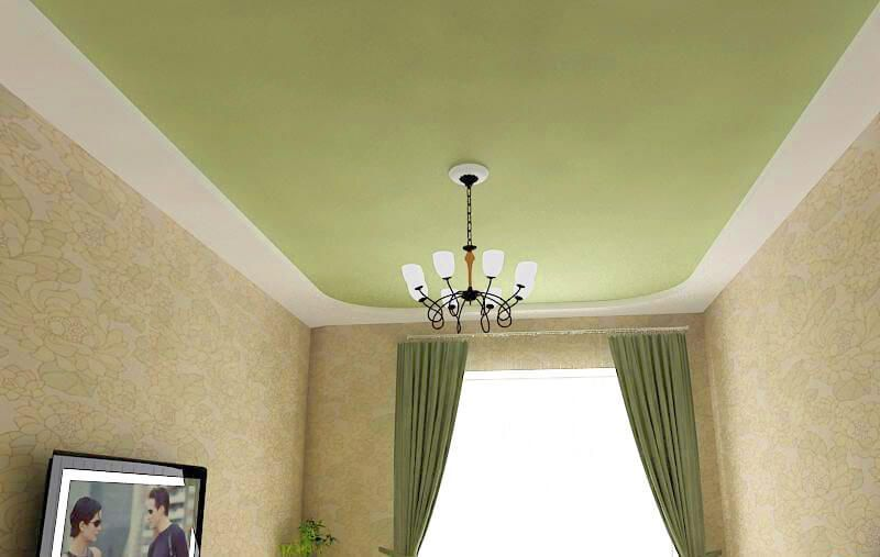 Mat textile PVC green ceiling for the neat interior of the classic styled room