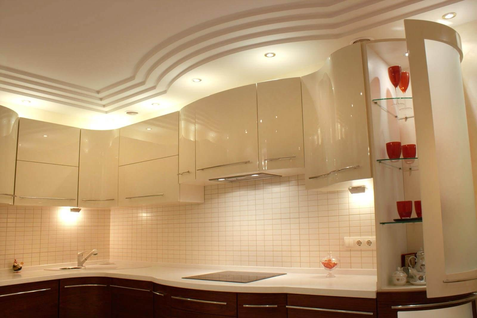 Plasterboard Ceiling Finishing Design Ideas For Apartment Simple But Stunning Combination Of Kitchen Facades With