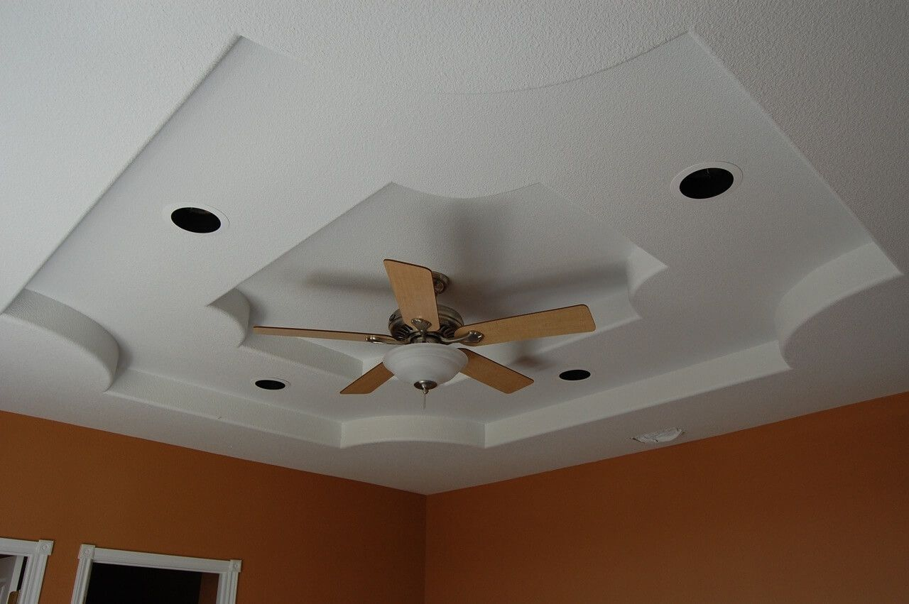 Suspended type of the ceiling made of plasterbpard multilevel construction