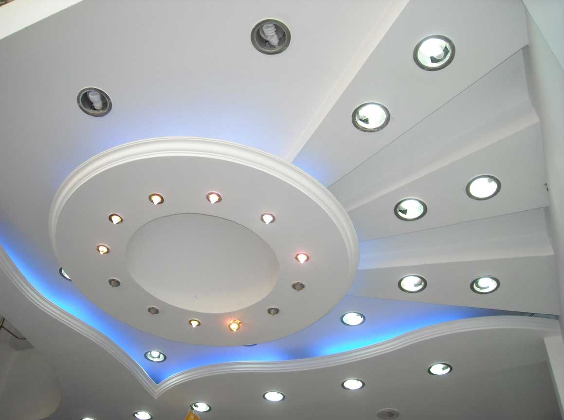 Plasterboard Ceiling Finishing Design Ideas for Apartment. Complex lighting is reality with this type of finishing