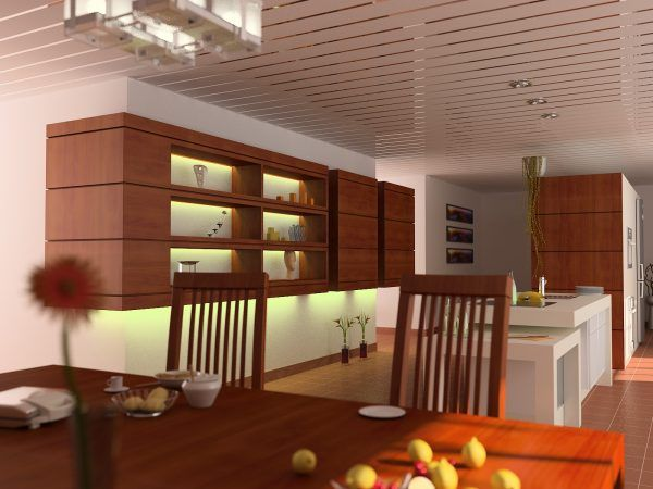 Aluminum Plank (Pinion) Ceiling Construction, Design, Installation. White tio of the classic wooden kitchen