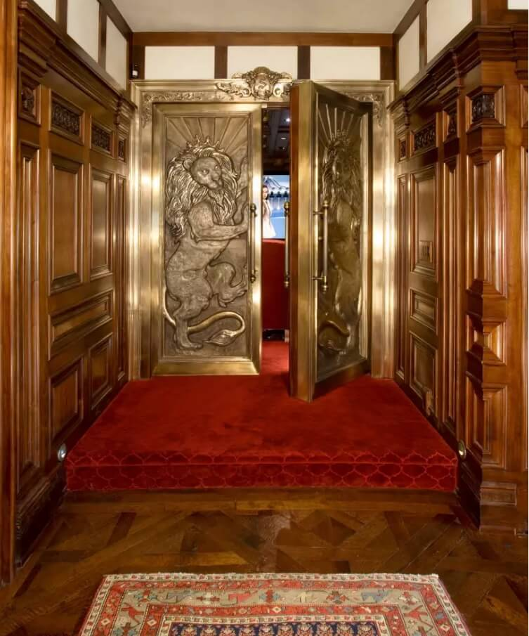 Home theater carved doors