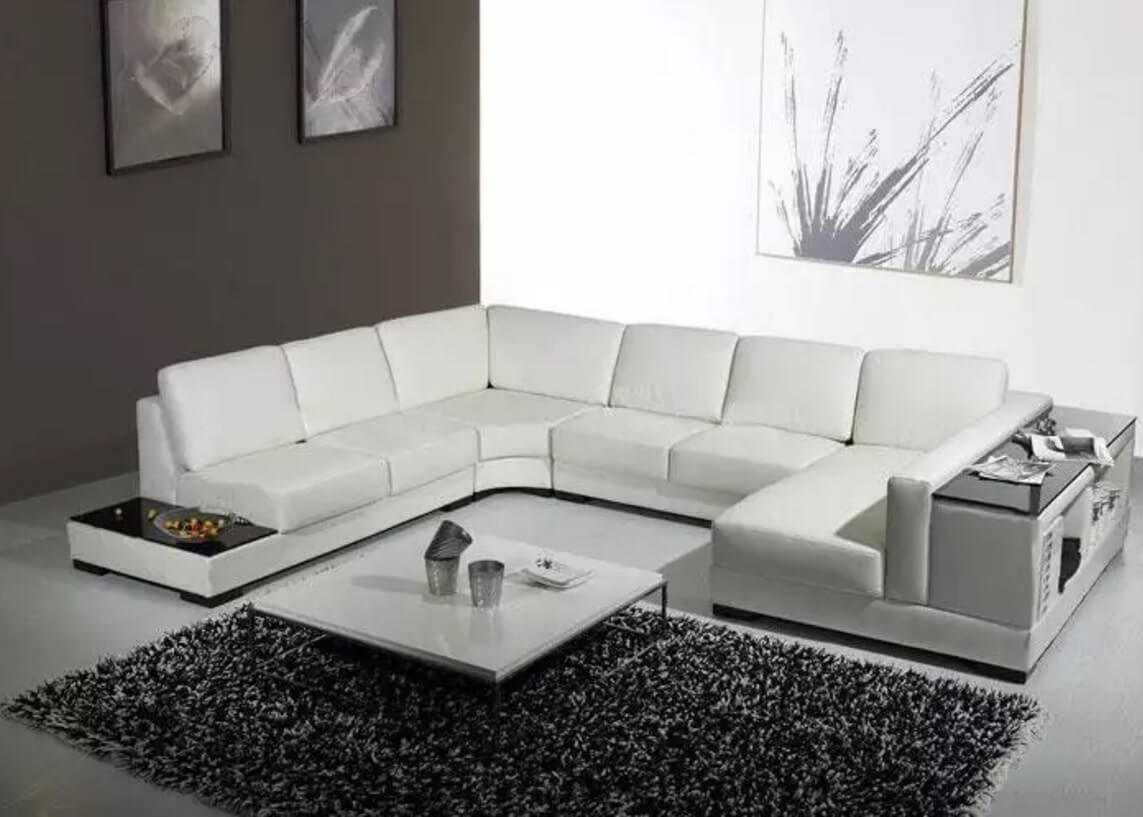 u-shaped sectional white leather couch for the living room in hi-tech style