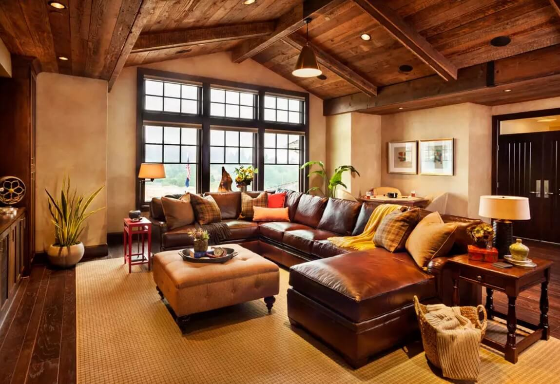 Leather Sectional Sofas to Complete your Living Room Image. A whole island of the furniture in the rustic cottage