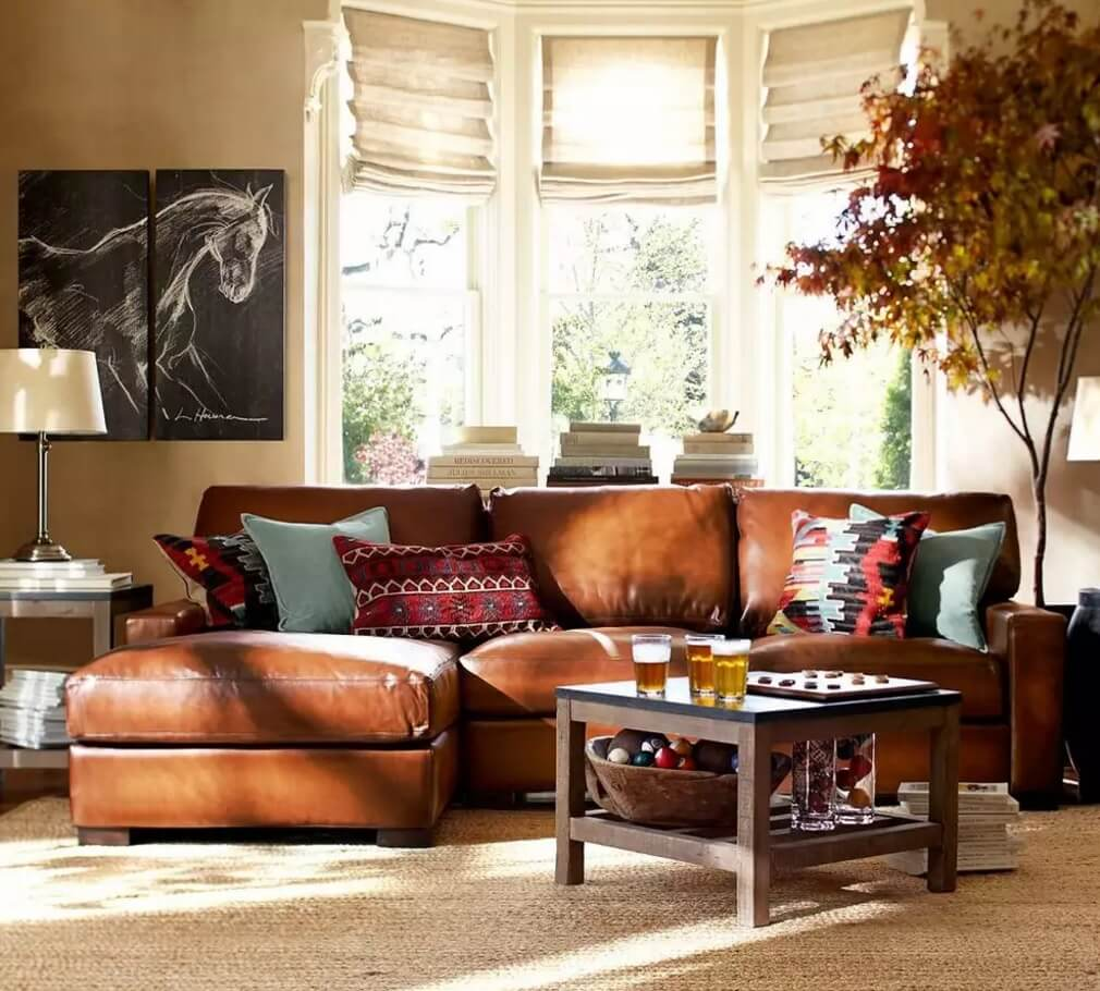 Leather Sectional Sofas to Complete your Living Room Image. Brown leather furniture at the window