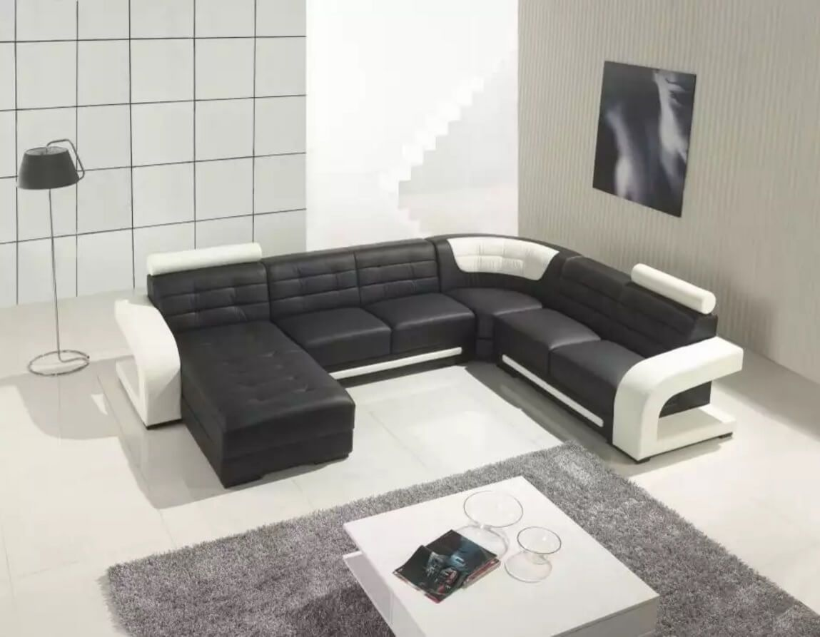 Leather Sectional Sofas to Complete your Living Room Image. Unique black and white design