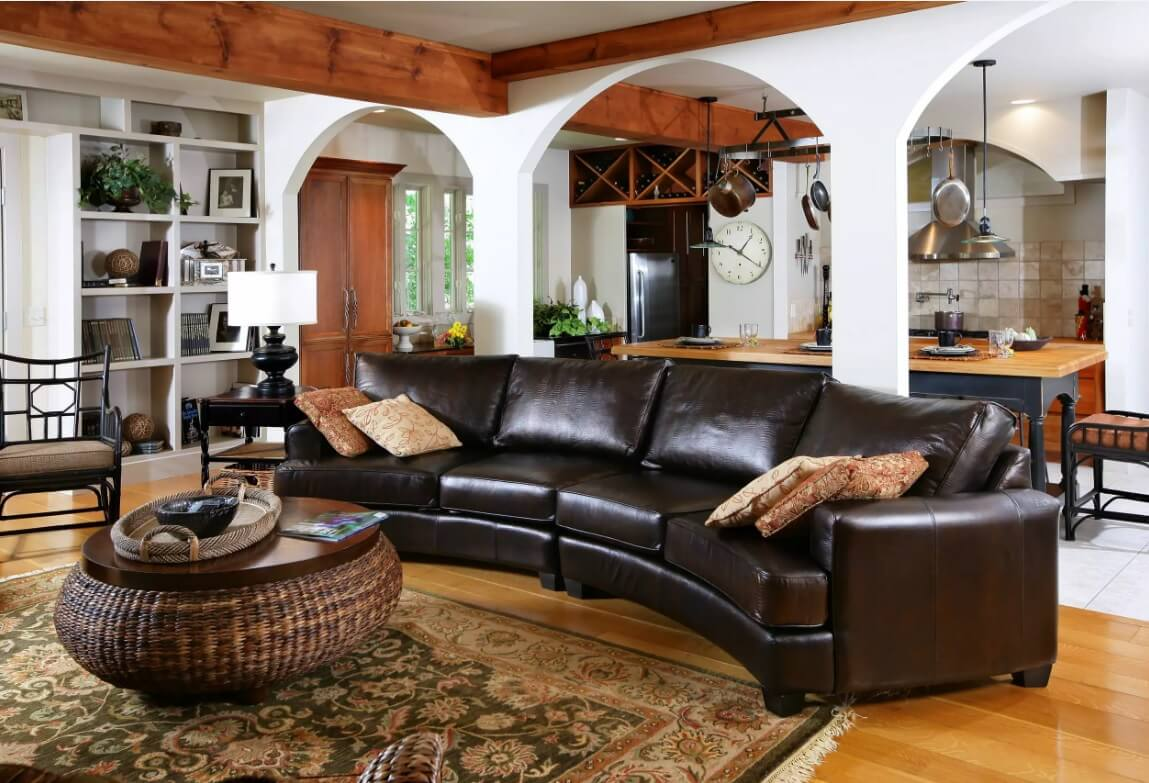Leather Sectional Sofas to Complete your Living Room Image. Semi-round dark genuine couch