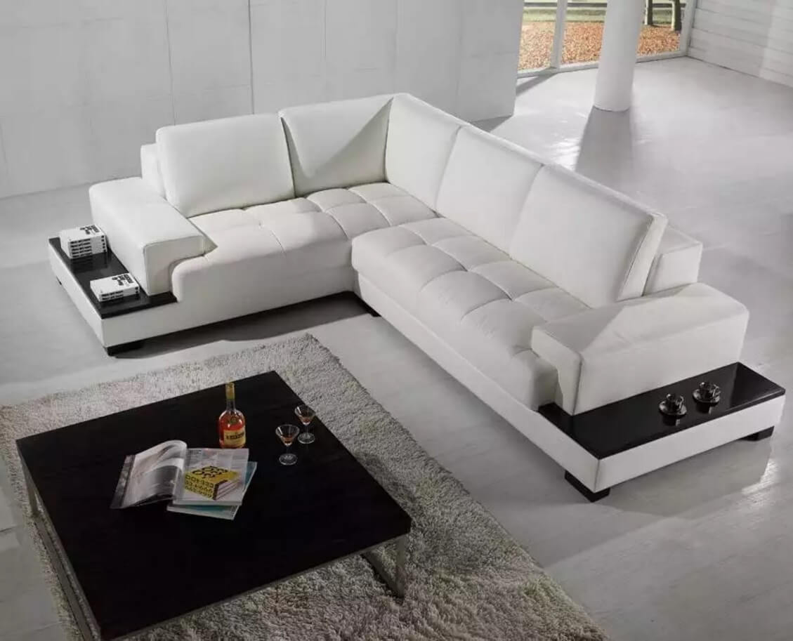 White leather sectional corner sofa with the built-in storage
