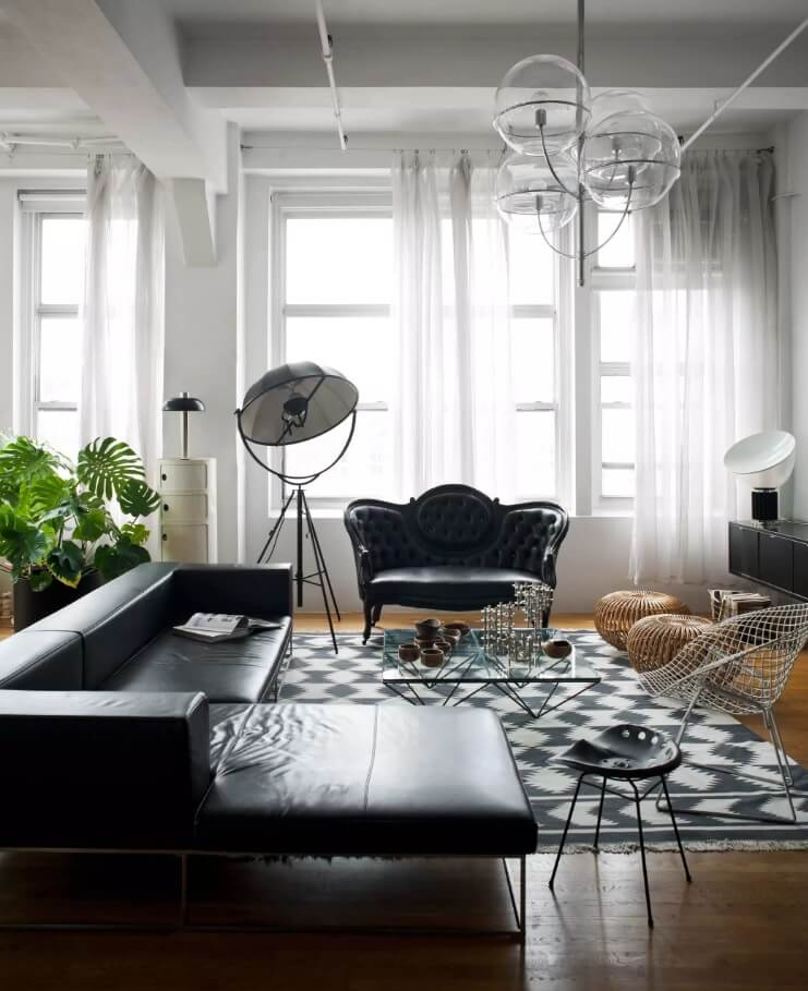 Leather Sectional Sofas to Complete your Living Room Image. Victorian modern version of the design with black furniture