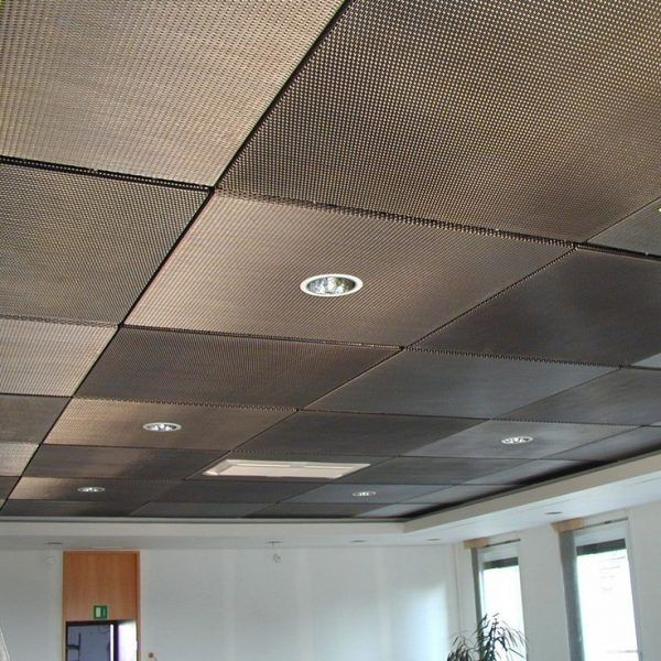 Dropped Ceiling Description, Characteristics and Photos. Cassettes of aluminum have dotted surface