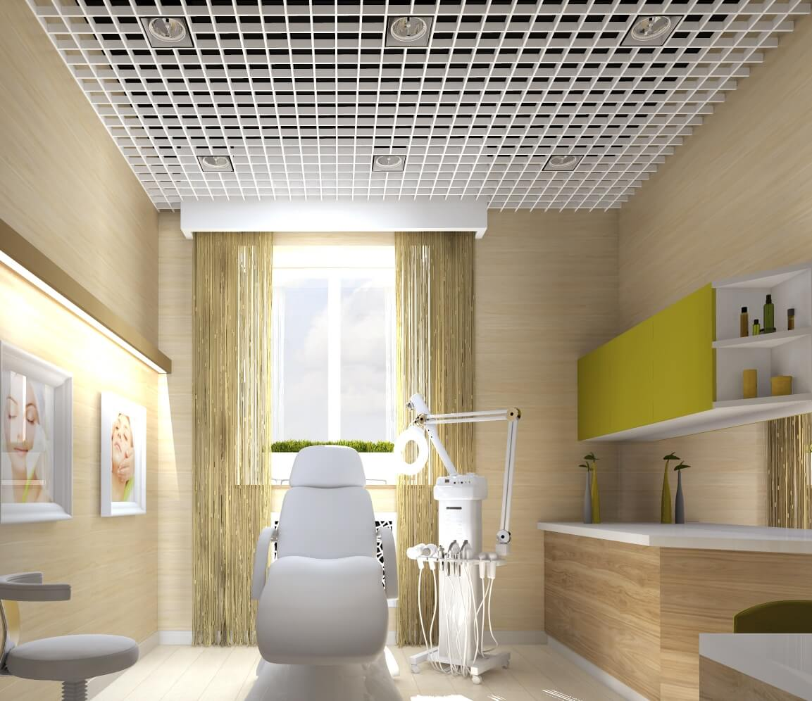 Home dentist's office design idea woth the lattice ceiling