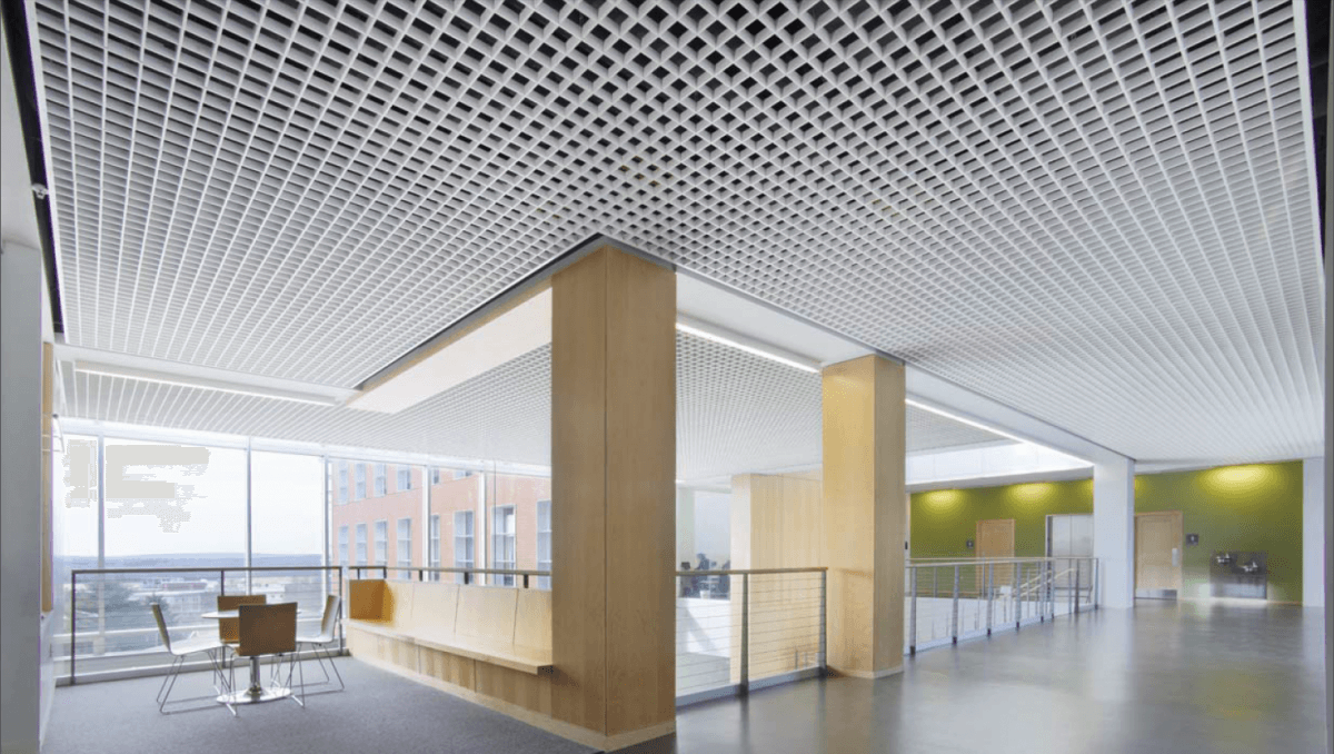 Aluminum grid ceiling in the office