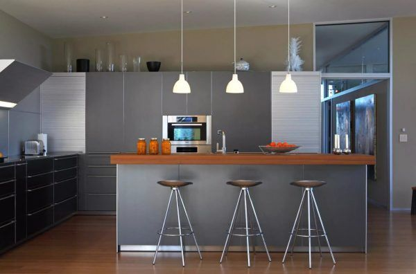 Kitchen Pendant Lighting Possible Design Types with Photos. Gray interior and white fixtures