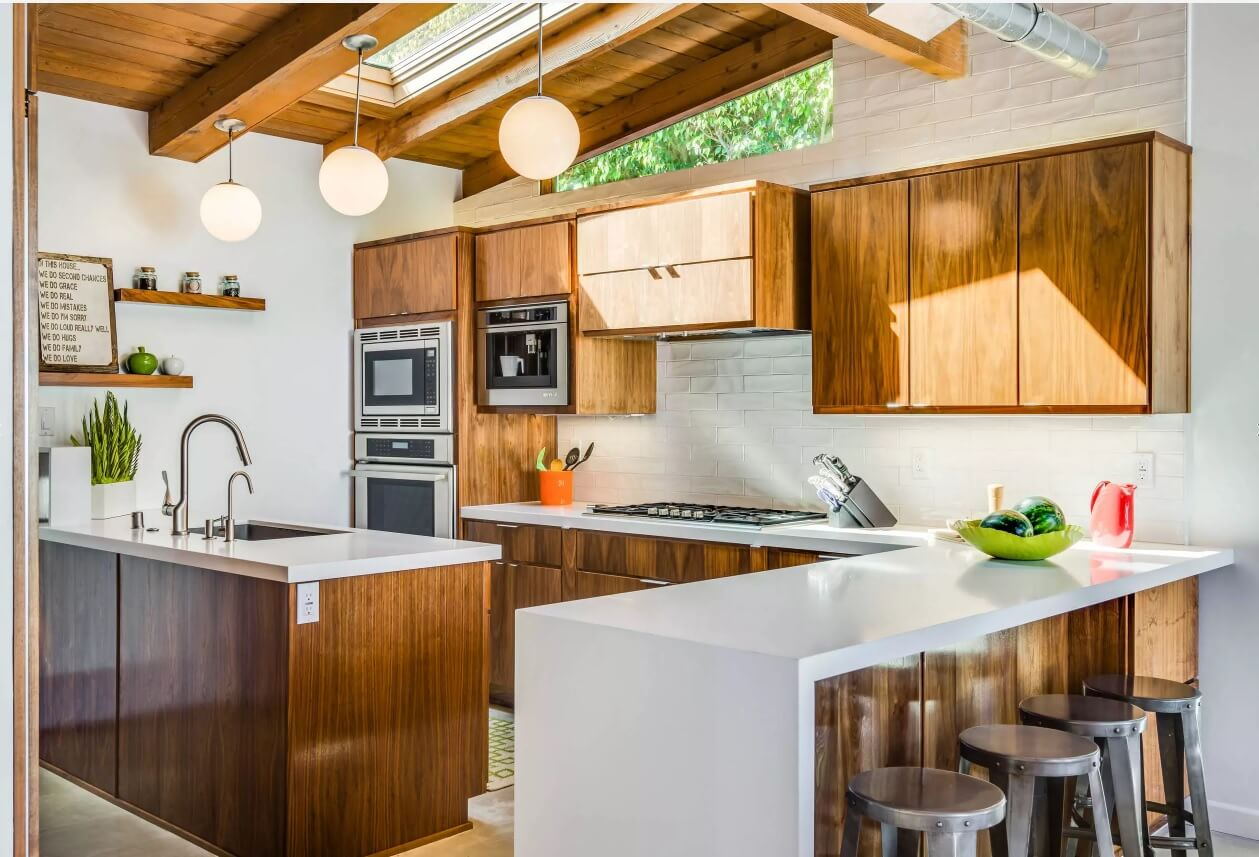 Kitchen Pendant Lighting Possible Design Types with Photos. White and timber decoration for the cottage