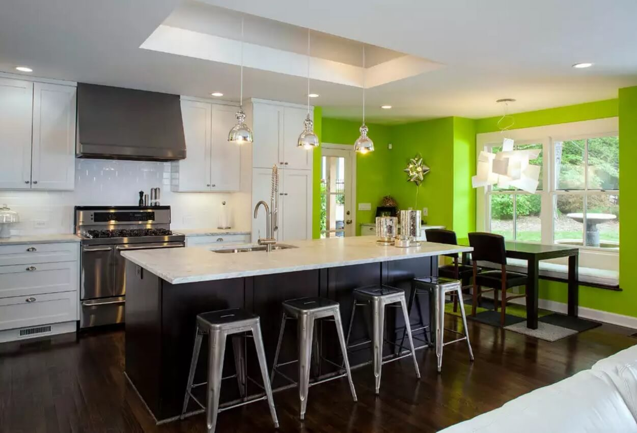 Kitchen Pendant Lighting Possible Design Types with Photos. Unusual color combination for bold modern hi-tech space