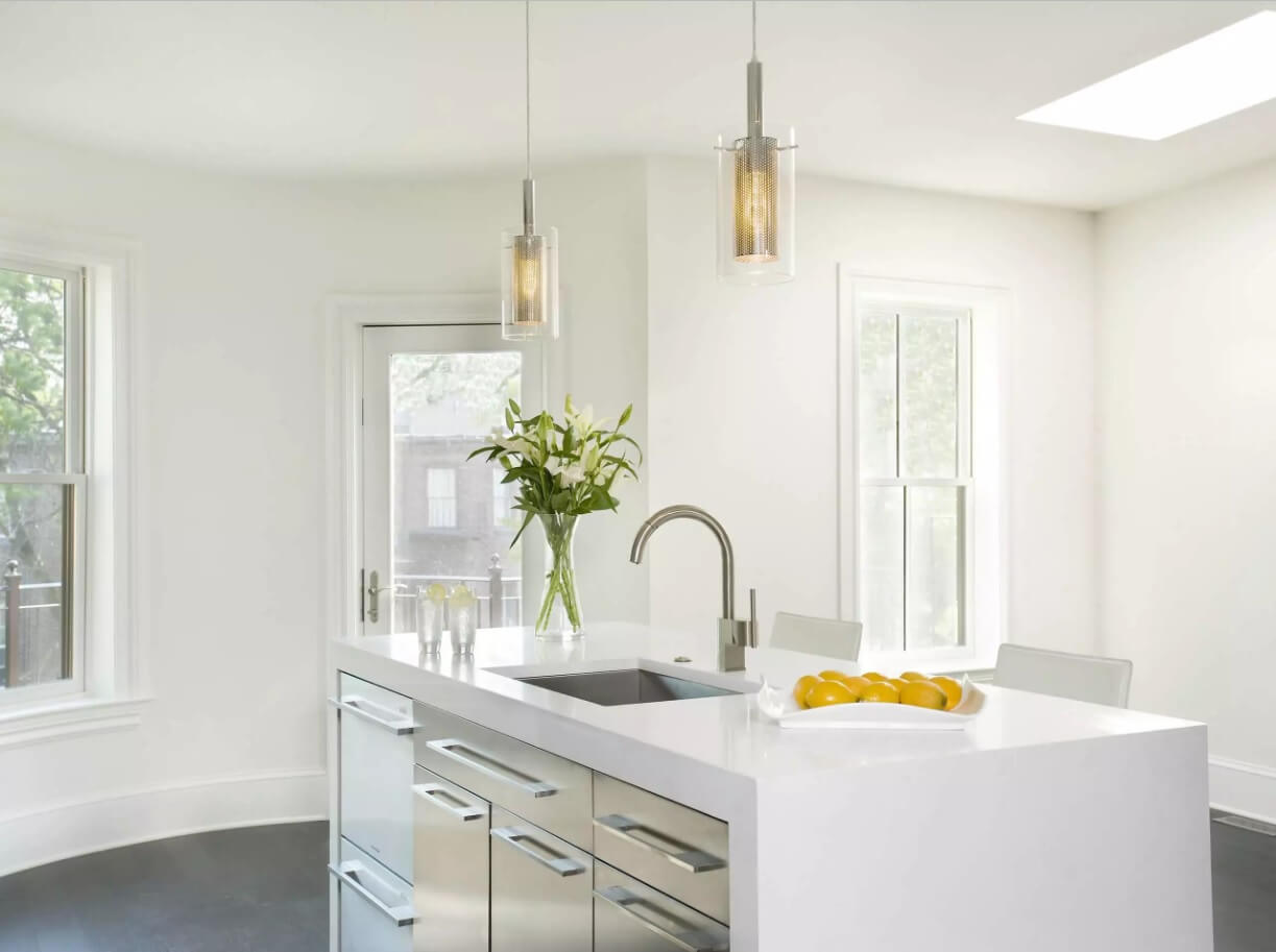 Kitchen Pendant Lighting Possible Design Types with Photos. Nice creamy color theme and almost invisible noble metal fixtures