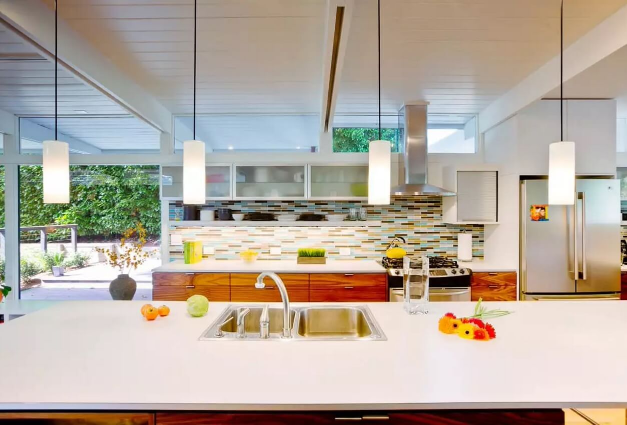Kitchen Pendant Lighting Possible Design Types with Photos. Square glass shades in thin black wires