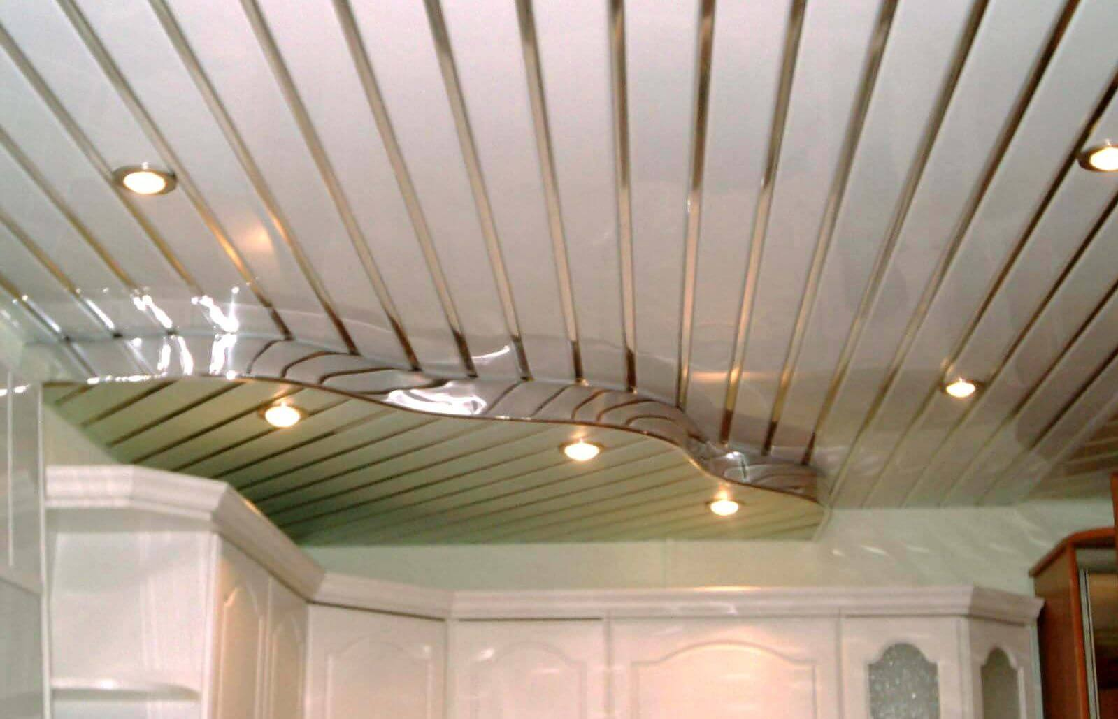 Aluminum Plank (Pinion) Ceiling Construction, Design, Installation. The possibility of creating of multileveled construction