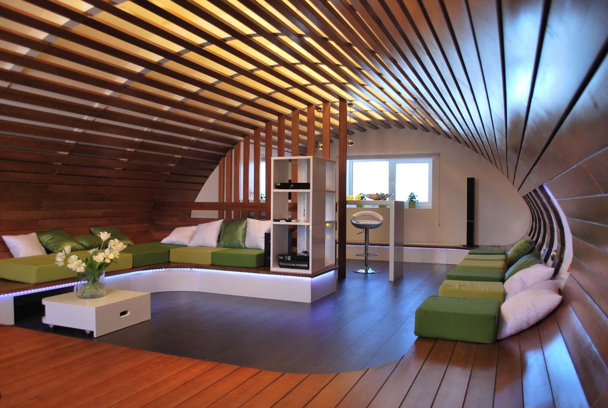 Aluminum Plank (Pinion) Ceiling Construction, Design, Installation. Wooden futuristic round ceiling
