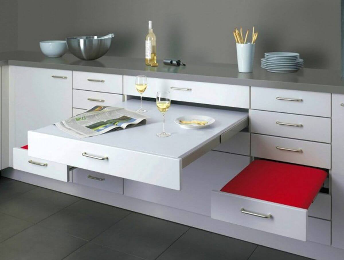 10 Kitchen Custom Custom Cabinets for Unique Functional Interior. Folding table in the modern design style