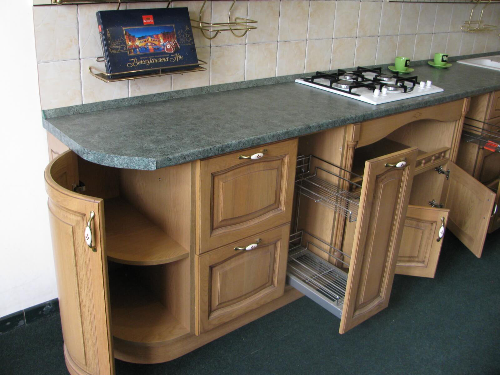 10 Kitchen Custom Custom Cabinets for Unique Functional Interior. Semicircular cabinet at the edge of the set