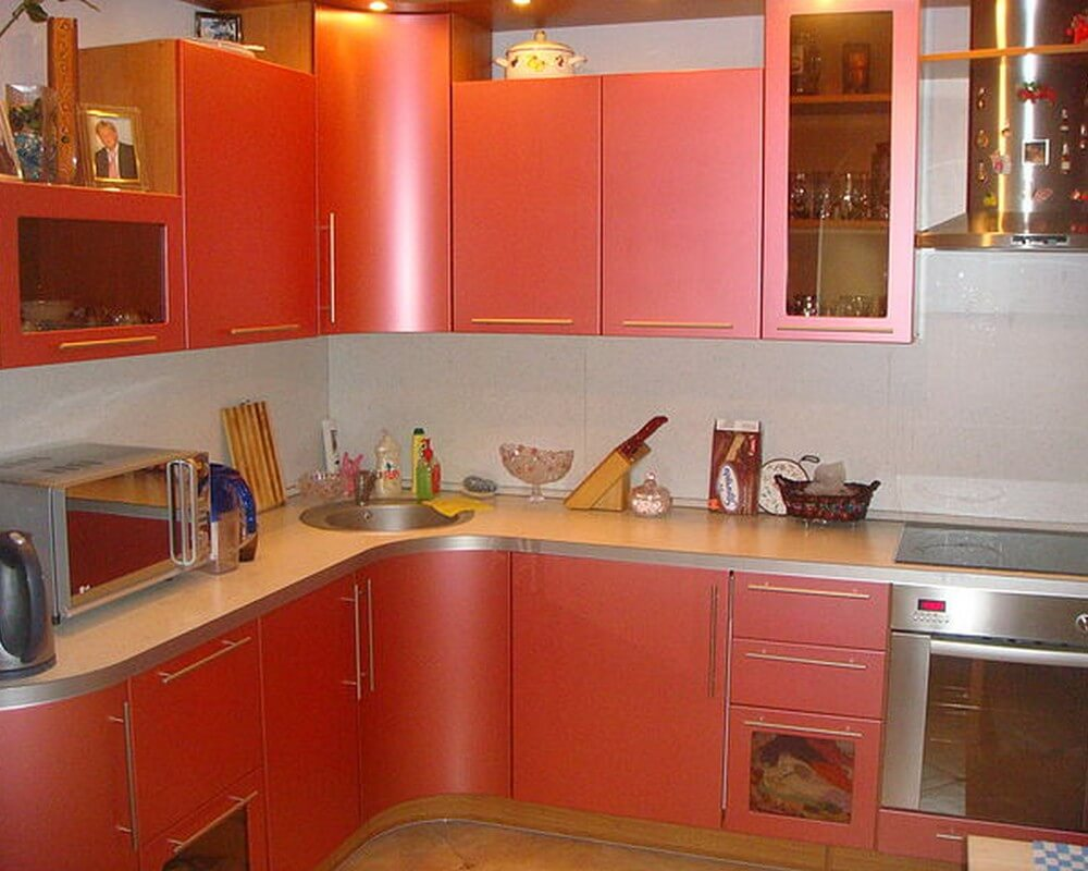 10 Kitchen Custom Cabinets for Unique Functional Interior. Smoothed rounded trapezoid angle