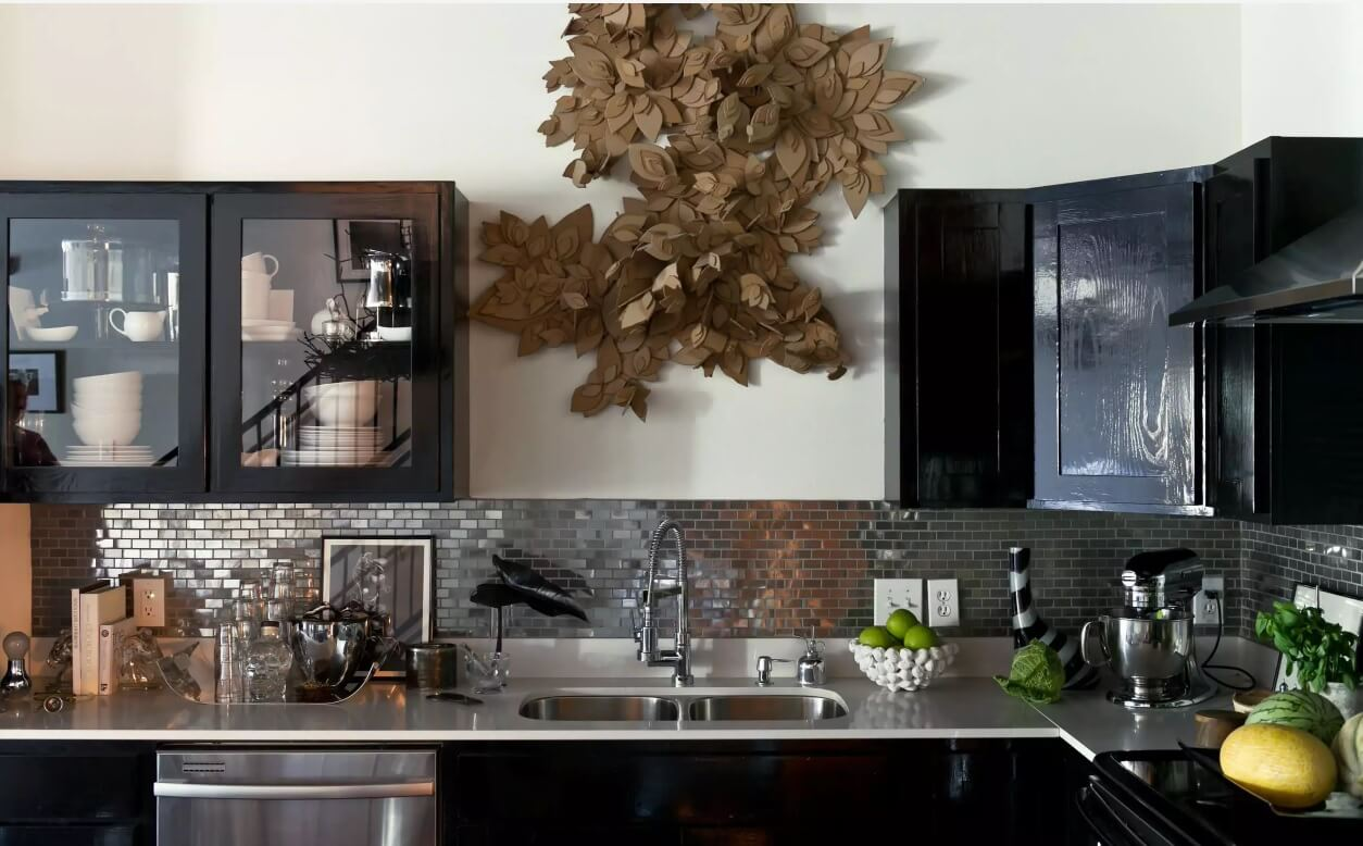 Metal Backsplash as Stylish Design Idea for Kitchen Interior. Modern design with contrasting furniture and wall finishing