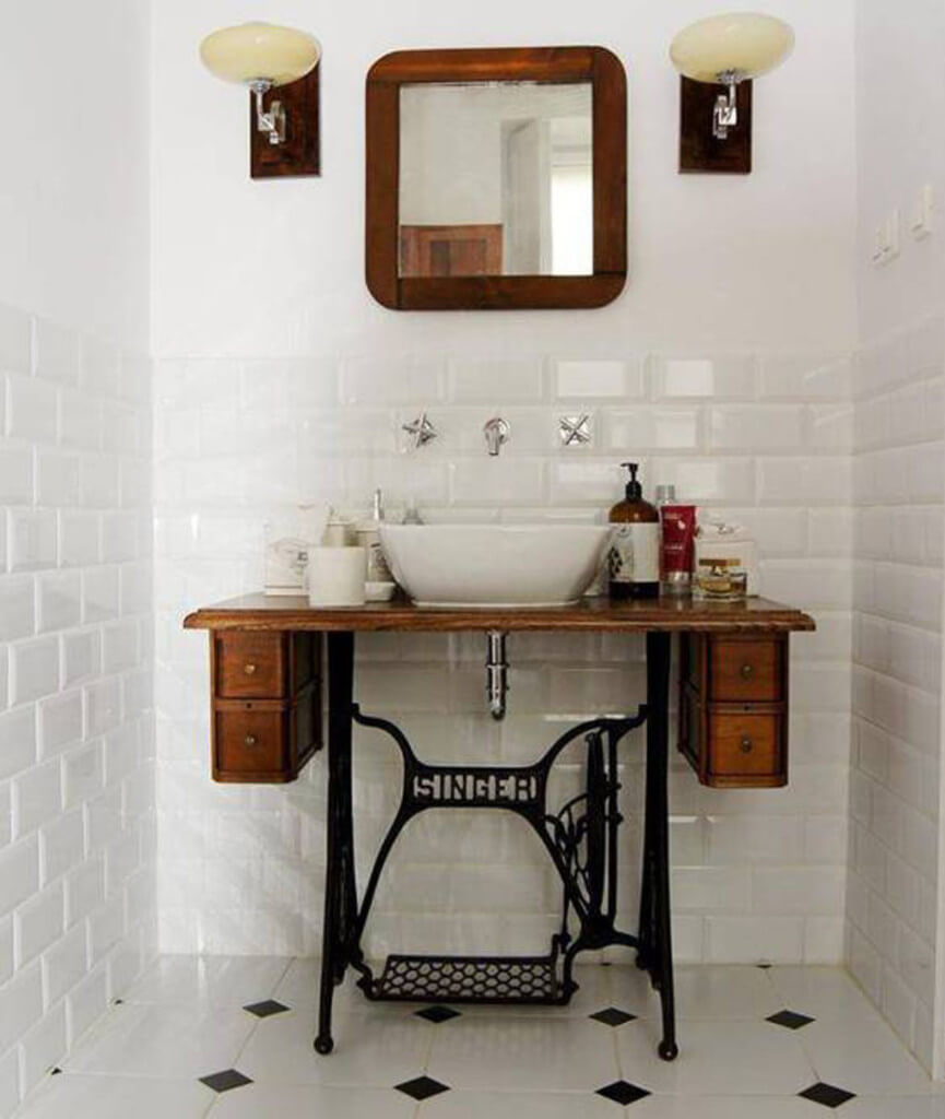 Old Sewing Machines' New Life in Your Interior. Bathroom vanity with metal legs and wooden cabinets