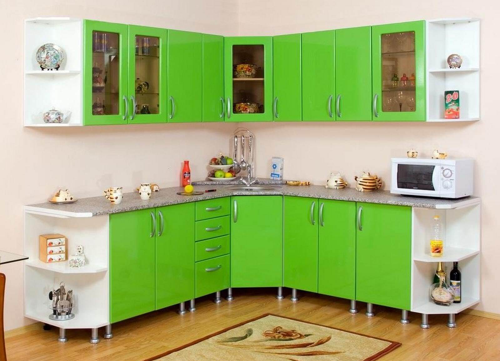 10 Kitchen Custom Cabinets for Unique Functional Interior. Green spectacular kitchen design with trapezoidal corner cabinets